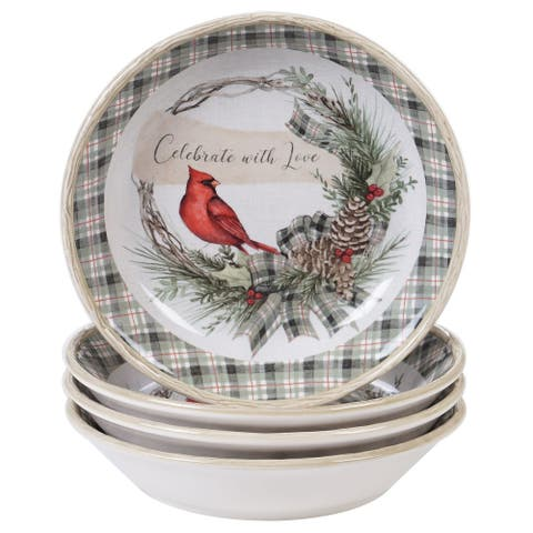 "4pc White and Red Cardinal Bird Christmas Pasta Bowl Set 8.5"""