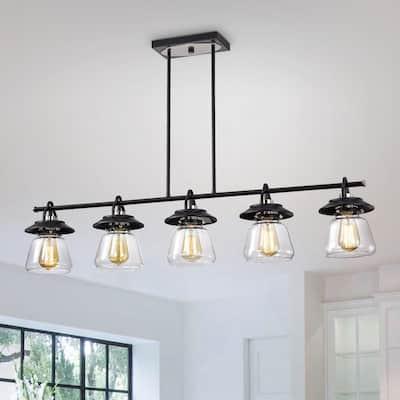 Black and Brushed Nickel 5-Light Linear Kitchen Island Lighting