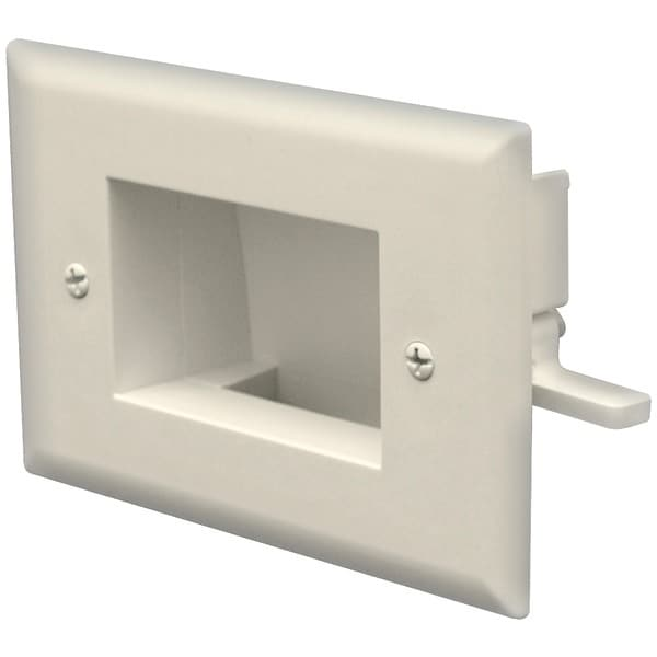 Datacomm Electronics 45-0008-Iv Easy-Mount Recessed Low-Voltage Cable Plate (Ivory)