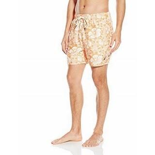 Nautica NEW Orange Mens Size 2XL Drawstring Floral Printed Board Shorts