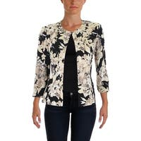 Jessica Howard Womens Collarless Blazer Matte jersey Printed
