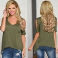 Women Casual Off the Shoulder Short Sleeve Loose Jersey Tunic Top - Thumbnail 5