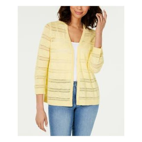 CHARTER CLUB Womens Yellow Pointelle-striped 3/4 Sleeve Top Size M
