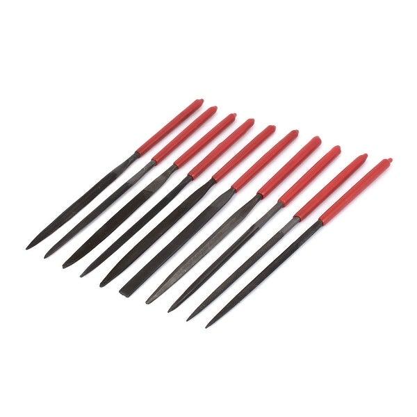 4mm Plastic Handle Square Flat Round Triangle Rasp Needle Files Tool Set 10  Pcs