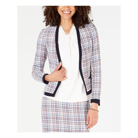 TOMMY HILFIGER Womens Light Blue Wear to Work Jacket Size 2