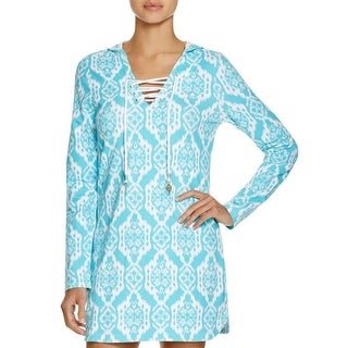 The Macbeth Collection Womens Printed Hooded Dress Swim Cover-Up - S