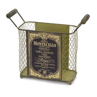 """Pack of 4 Antique Green Mesh Metal Wine Bottle Carriers 9.5"""""""