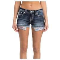 Miss Me Denim Shorts Womens Distressed Frayed Hem Med Wash