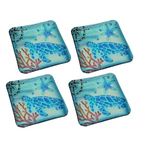 Set of 4 Coastal Blue Sea Turtle Square Art Glass Salad Plates - 0.68 X 7.75 X 7.75 inches