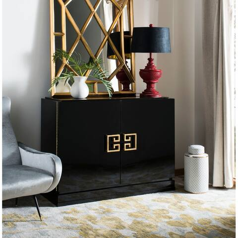 Safavieh Couture High Line Collection Winslow Black Lacquer Gold Leaf 2-Drawer Storage Cabinet