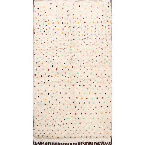 "Polka Dot Vegetable Dye Oriental Authentic Moroccan Area Rug Handmade - 4'1"" x 6'4"""
