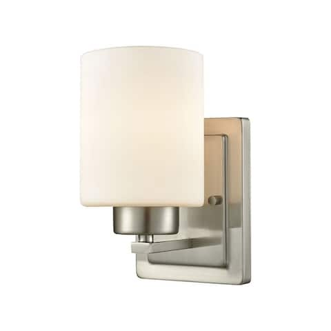 1 Up Light Bath Sconce With Oil Rubbed Bronze Finish With White Glass Made Of Glass/Metal - Bathroom