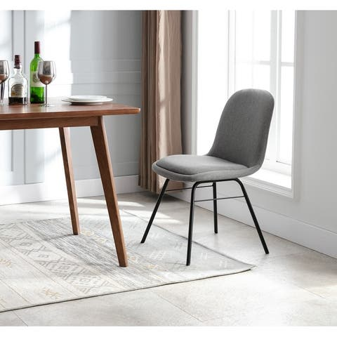 WOVENBYRD Modern Armless Curved Back Dining Chair with metal base