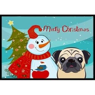 Carolines Treasures BB1882JMAT Snowman With Fawn Pug Indoor & Outdoor Mat 24 x 36 in.