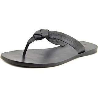 Frye Perry Knot Thong Women Open Toe Leather Black Thong Sandal