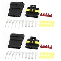 Unique Bargains 2 Set 5-Pin 5 Positions Waterproof Wire Connectors Plugs for Car Auto Stereo