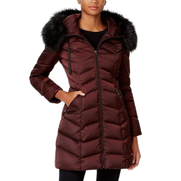 T Tahari Womens Burgundy Down Puffer Coat Jacket Outerwear Quilted