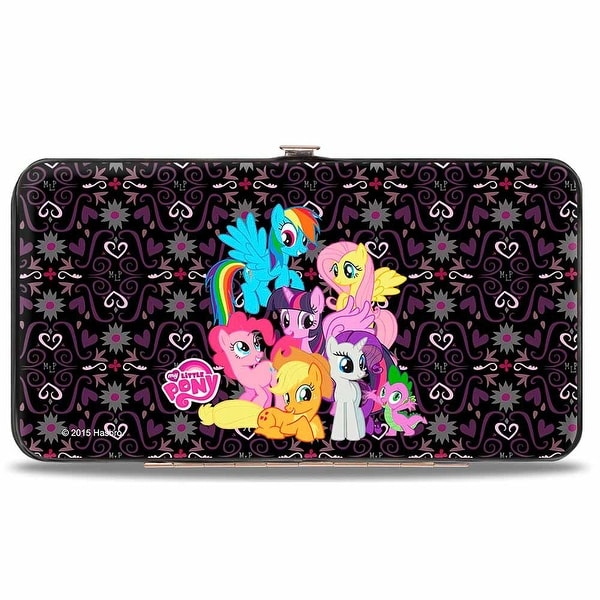 My Little Pony Group Shot Mlp Monogram Black Purples Hinged Wallet - One Size Fits most