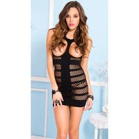 Cupless Striped Fishnet Chemise, Striped Chemise - One Size Fits most