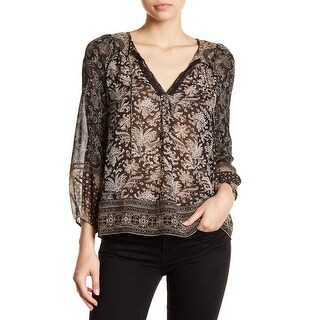 Joie Black Womens Size XS Lace-Trim Split-Neck Paisley Silk Blouse