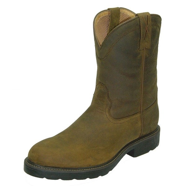 Twisted X Work Boots Mens Cowboy Leather Distressed Saddle