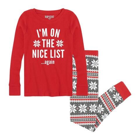 Im On The Nice List Again- Kids Pajama Sets - White/Red Green Snowflake