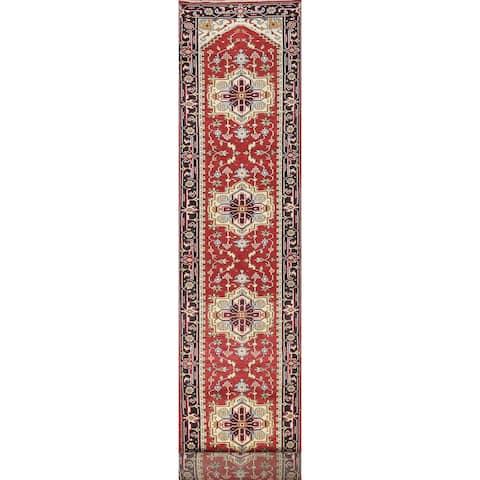 "Oriental Geometric Indo Heriz Serapi Runner Rug Wool Hand-knotted - 2'6"" x 20'8"""