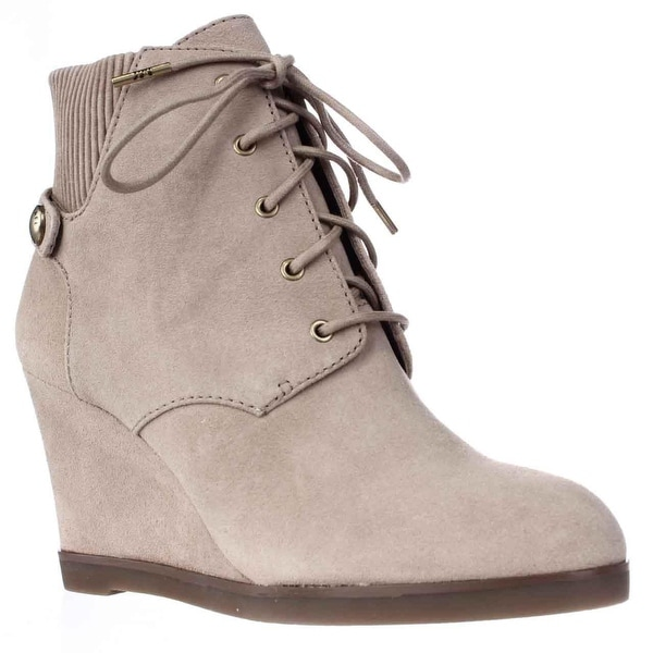 MICHAEL Michael Kors Carrigan Wedge Knit Cuff Lace Up Ankle Boots, Dark Khaki