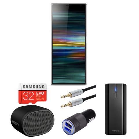 "Sony Xperia 10 Plus 6.5"" Unlocked Smartphone (64GB, Silver) bundle - Silver"