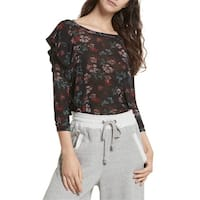 Free People Black Womens Size Small S Floral Print Ruffle Blouse