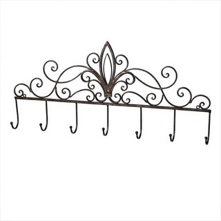 Pack of 2 Distressed Finish Antique-Style Fleur-de-Lis and Scroll Accent Wall Hooks 28.5""