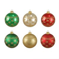 "6ct Glittered Snowflake Burst Shatterproof Christmas Ball Ornaments 3.25"" (80mm) - multi"