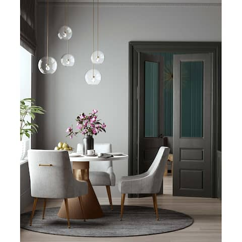 Silver Orchid Chester Pleated Light Grey Velvet Side Chair