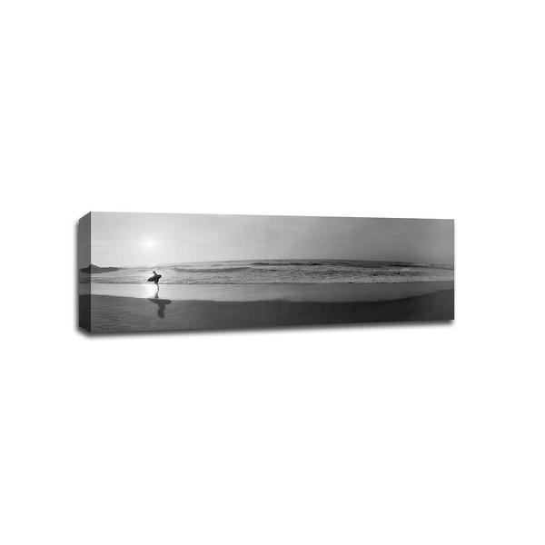 Surfer San Diego   - B&W Photography - 36x12 Gallery Wrapped Canvas Wall Art B&W