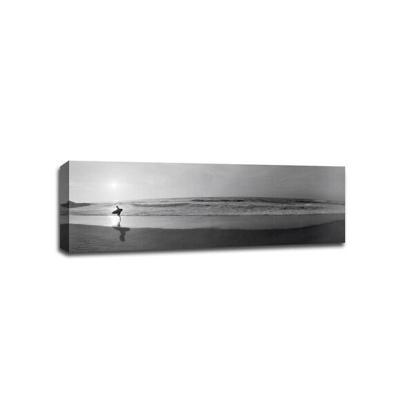 Surfer San Diego - B&W Photography - 48x16 Gallery Wrapped Canvas Wall Art B&W