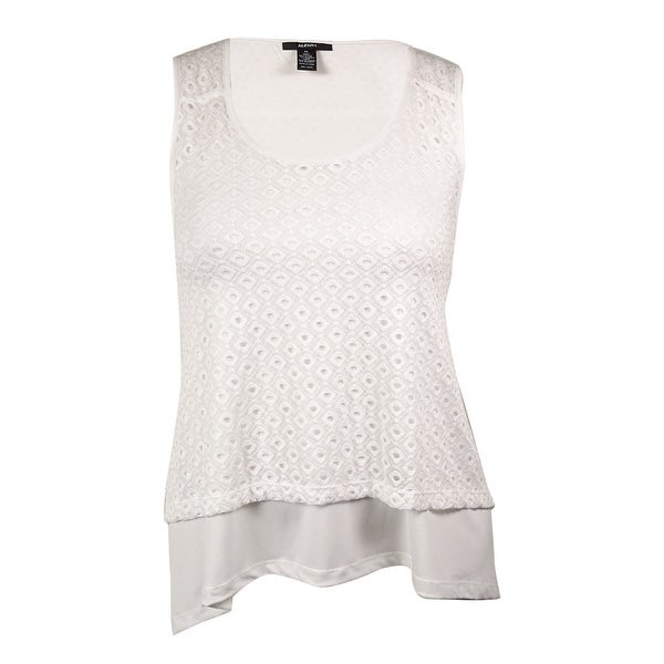 731937b770ee5 Shop Alfani Women s Eyelet Lace Overlay Top - Bright White - XL - Free  Shipping On Orders Over  45 - Overstock - 14729387