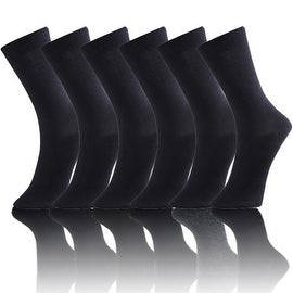 Solid/Plain Men's Classic Black Cotton Dress Socks (Size 10-13)