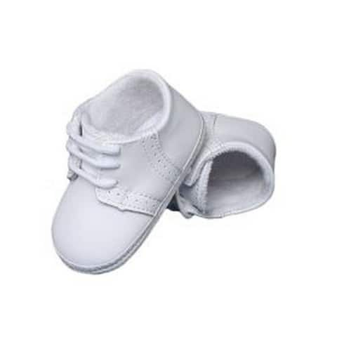 Baby Boys White Leather Saddle Oxford Perforated Crib Shoes