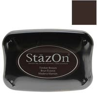 Tsukineko StazOn Ink Pad For Stamps - Timber Brown Color