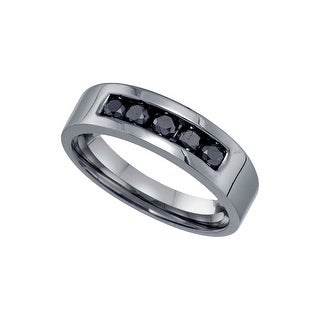 Sterling Silver Black Colored Round Natural Diamond Mens Masculine Wedding Anniversary Band 2/3 Cttw
