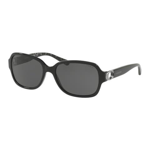 Coach Rectangle HC8241F Women BLACK Frame DARK GREY SOLID Lens Sunglasses