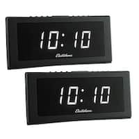 "Electrohome 1.8"" Jumbo LED Alarm Clock Radio with Battery Backup, Auto Time Set, Digital AM/FM Tuner - 2 PACK"