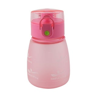 Plastic Letter Pattern Portable Strap Frosted Cup Straw Water Bottle Pink 330ml