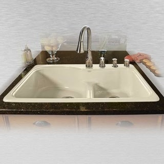 "Miseno MCI75-4TM-LD 33"" Double Basin Drop In Cast Iron Kitchen Sink"