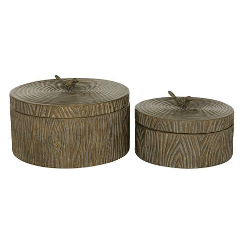 "Round Antique Bronze Metal Box With Tree Bark Texture And Bird Handled Lid Set Of 2 6"" 7.25"" - 12 x 12 x 7"