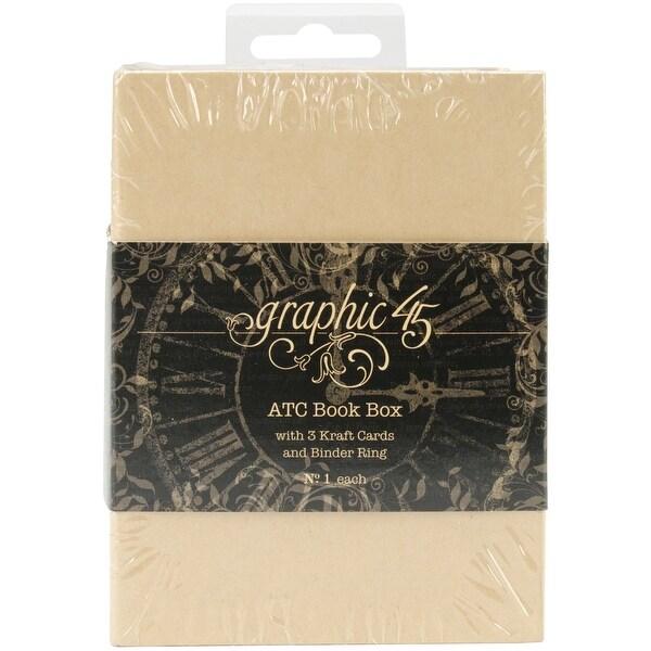 "Graphic 45 Staples ATC Cards Book Box -Kraft 4.75""X3.5""X2.5"""