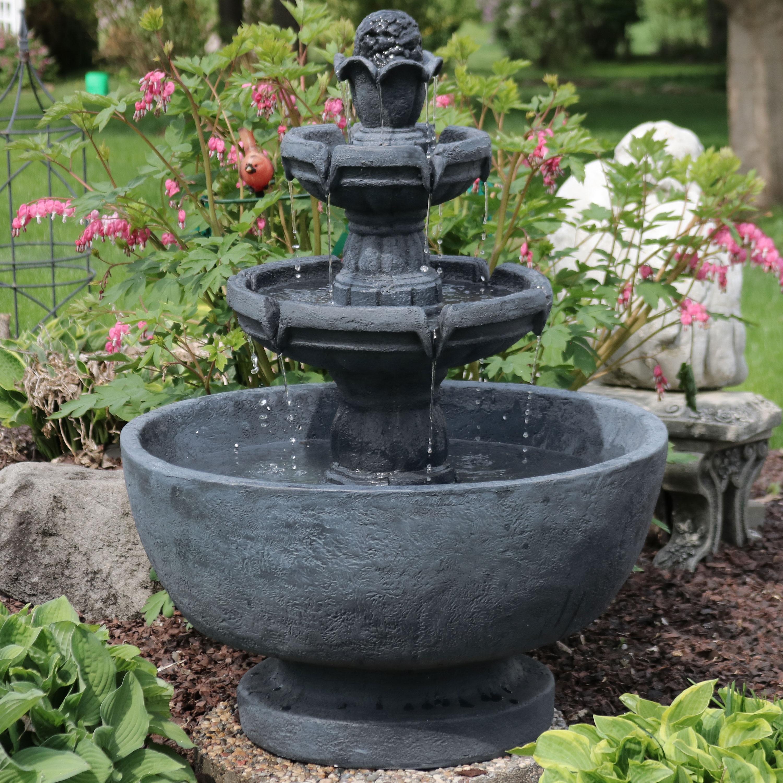 Sunnydaze Budding Fruition 3 Tier Outdoor Garden Patio Water Fountain 34 Inch