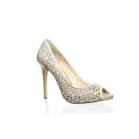 Badgley Mischka Womens Tammi Champagne Peep Toe Heels Size 7