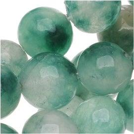 Green And White Jade 8mm Round Beads - 15 Inch Strand