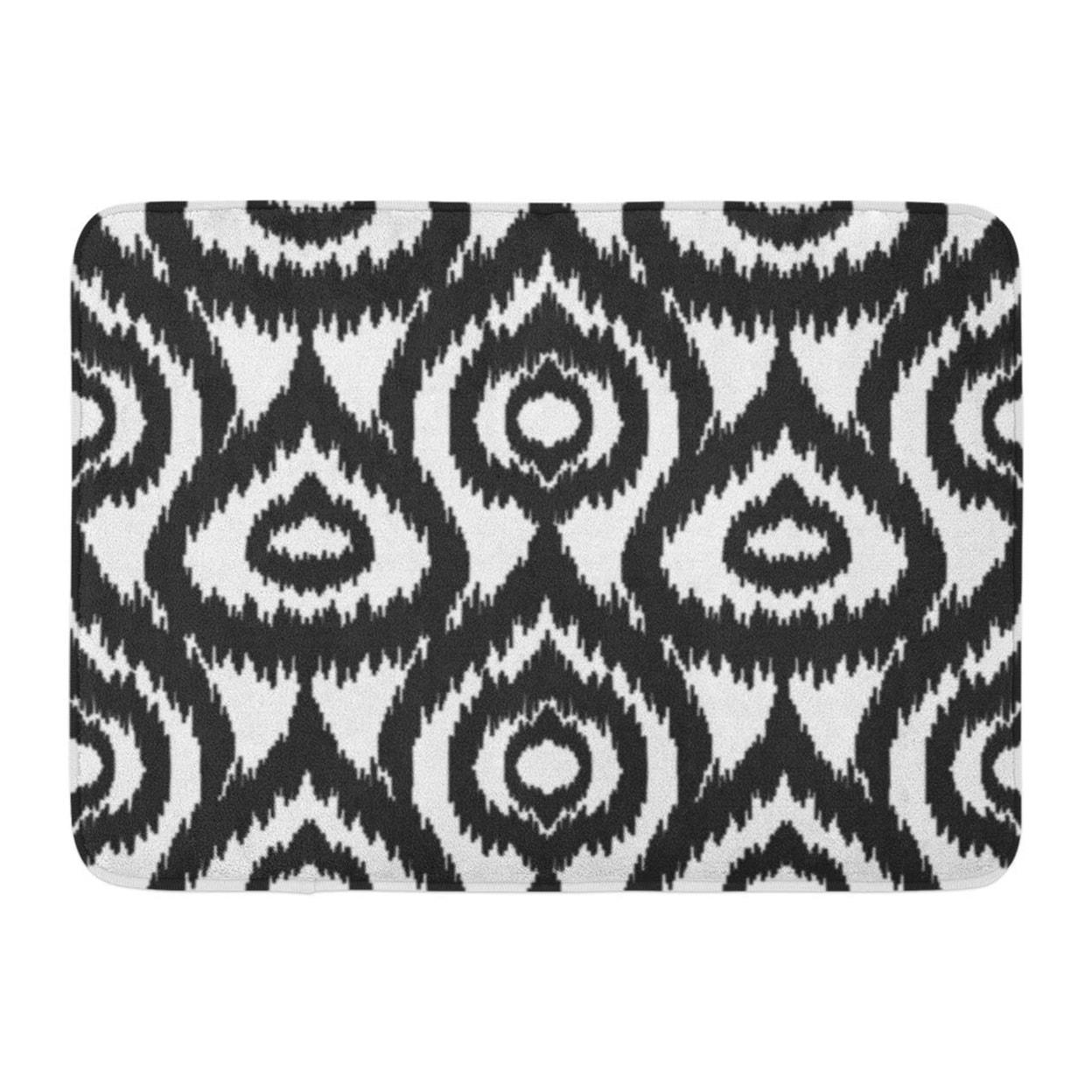 Ikat Black And Pattern Boho Geometric Abstract Drops Uzbek Accessory Doormat Floor Rug Bath Mat 23 6x15 7 Inch Multi On Sale Overstock 31779733